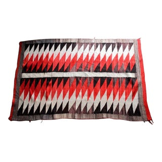 Navajo Red, Black & White Wool Blanket For Sale