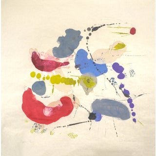 """Tracey Adams """"Rajas 12"""" Abstract Colorful Painting on Paper For Sale"""