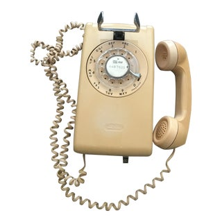 Vintage Western Electric Bell System Beige Rotary Mount Wall Telephone For Sale