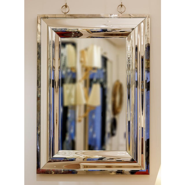 Andre Hayat Rectangular Curved Silver Mercury Frame Mirror For Sale - Image 11 of 11