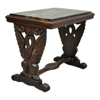 Antique Regency Swan Carved Walnut Style Marble Top Accent Table For Sale