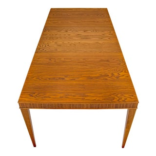 Mid-Century Modern Brown Saltman 3-Leaf Dining Table by Paul Frankl For Sale