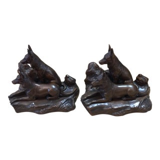 Vintage Bronze German Shepherd Bookends - A Pair