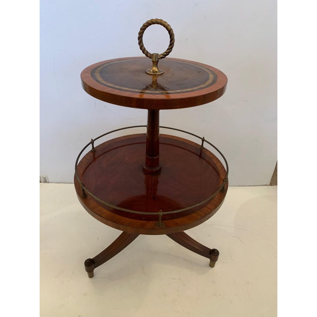 Antique 2 Tier Mahogany and Tooled Leather Side Table For Sale - Image 13 of 13