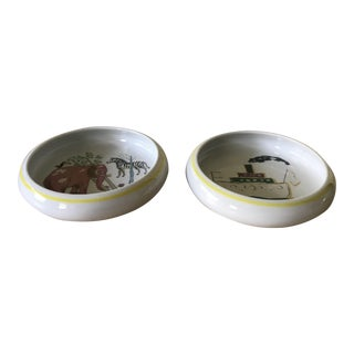 Suisse Lagenthal Custom Made Folk Art Porcelain Bowls - Set of 2 For Sale