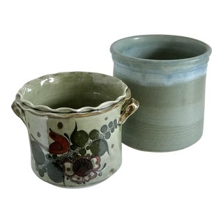 Mid Century Artisan Pottery Vessels - a Pair For Sale