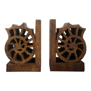 1960s Hand Carved Wood Shell Nautilus Bookends-A Pair For Sale