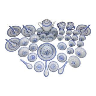 Chinese Rice Eye Blue & White Porcelain Tea Service - 44 Piece Set For Sale