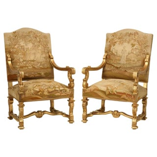 Antique French Gilded Throne Chairs circa 1900 - a pair For Sale