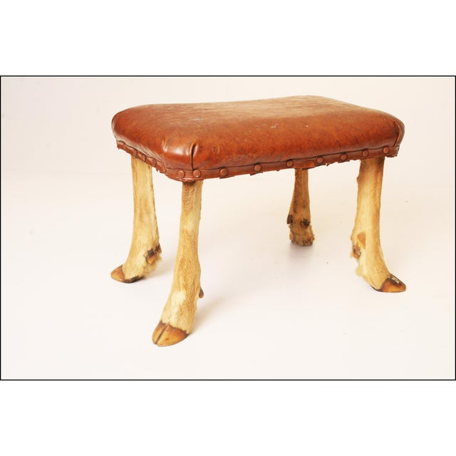 Vintage Brown Vinyl Foot Stool - Image 9 of 11