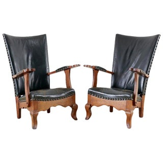 Pair of Spanish Oak and Leather Studded Lounge Chairs For Sale