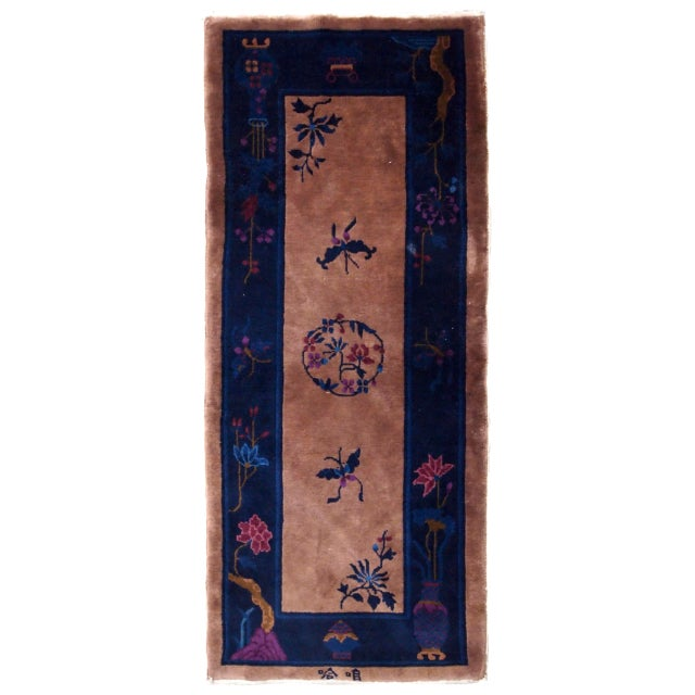 1920s Handmade Antique Art Deco Chinese Rug 2.2' X 6.7' For Sale - Image 9 of 9