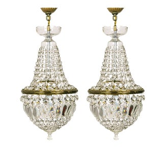 Regency Petite Crystal Basket Chandeliers - a Pair For Sale