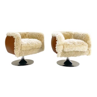 Vintage Knoll Swivel Chairs in California Sheepskin and Loro Piana Leather For Sale