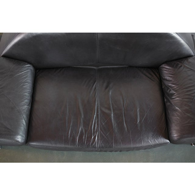 Post Modern Italian Black Leather Sofa For Sale - Image 9 of 10
