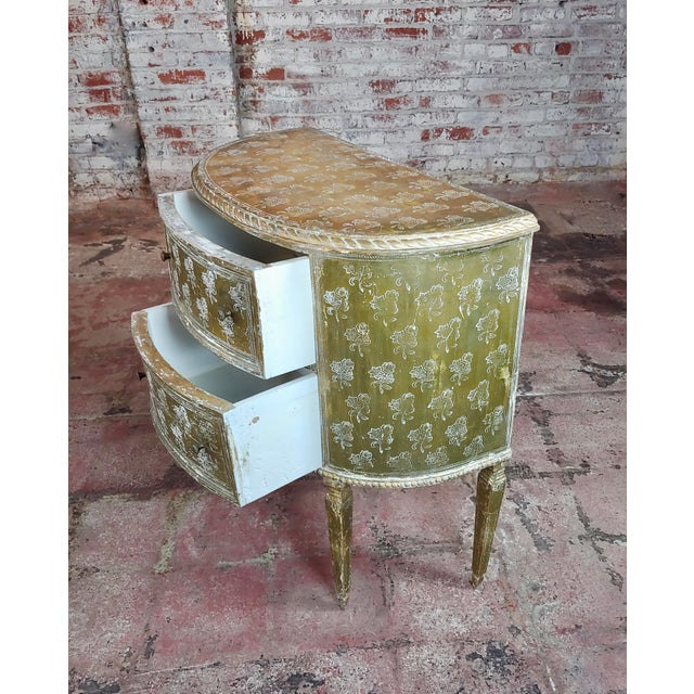 Antique Italian Florentine Demilune Gilt-Wood Commodes - A Pair For Sale In Los Angeles - Image 6 of 10