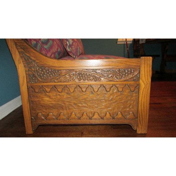 Romweber Viking Oak Carved Wood Low-Arm Sofa - Image 10 of 11