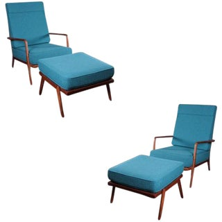 Single Walnut High Rail Back Lounge Chair by Mel Smilow For Sale