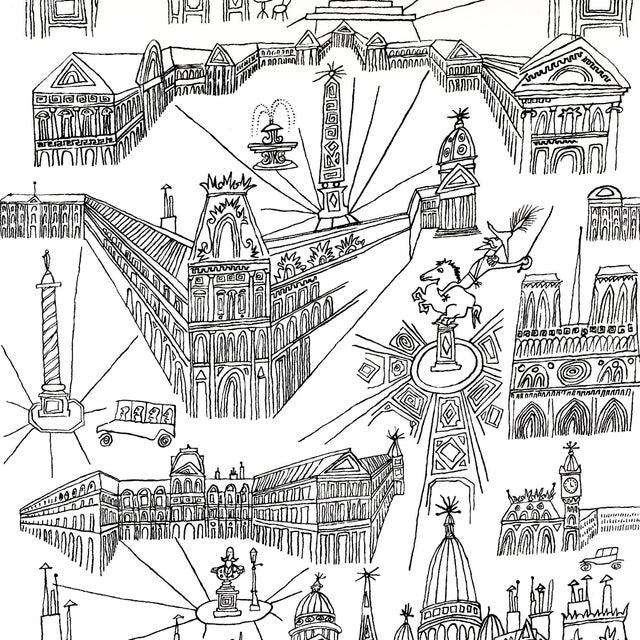 Sample - Schumacher Views of Paris Wallpaper in Black & White For Sale