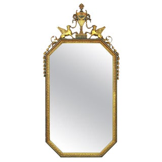 Parcel Gilt Carved Wood and Gesso Empire Mirror For Sale