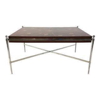Universal Mid-Century Modern Sunburst Wood and Metal Cocktail Table Prototype For Sale