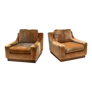 Dominique Style Mid-Century Modern Beige Corduroy & Wood Lounge Chair Pair For Sale