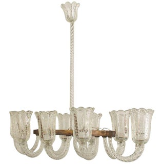 1940s Italian Six Arm Chandelier by Barovier E Toso For Sale