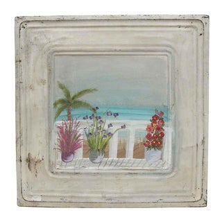 Vintage Hand Painted Tin Panel With Beach Scene For Sale