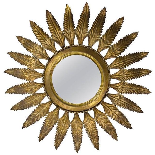 Gold Spanish Gilt Metal Sunburst Flush Mount Ceiling Fixture For Sale - Image 8 of 8
