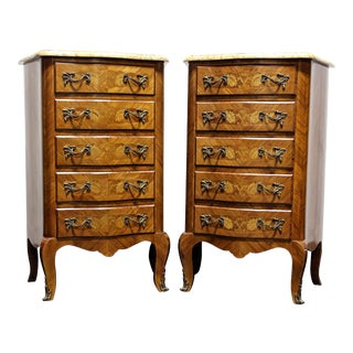 French Louis XV Style Inlaid Kingwood Marble Top Lingerie Chests - Pair For Sale