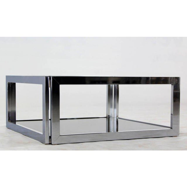 Silver Mid-Century Modern Square Chrome & Smoked Glass Coffee Table For Sale - Image 8 of 10