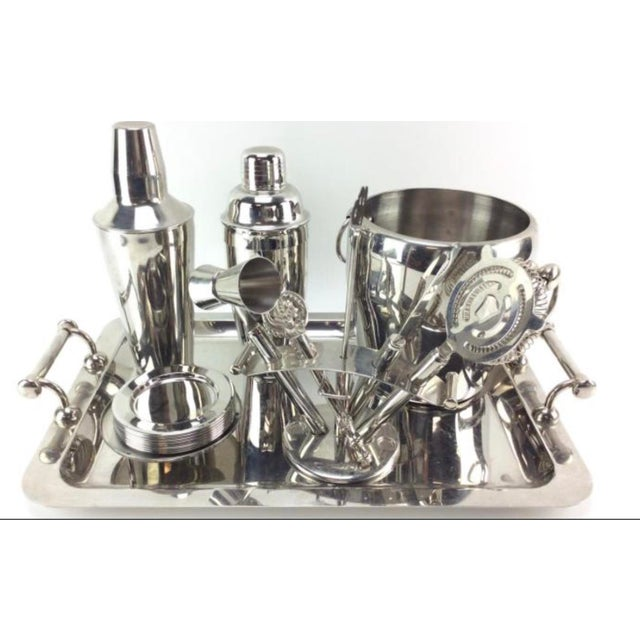 Mid-Century Modern Stainless Steel Barware Set For Sale - Image 3 of 3