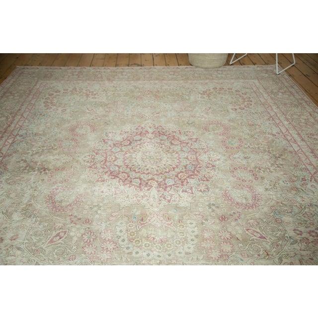 "Blue Vintage Distressed Meshed Carpet - 9'3"" x 12'5"" For Sale - Image 8 of 10"