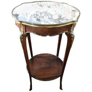 Mid 19th Century Antique French Louis XVI Marble-Top & Mahogany Side Table