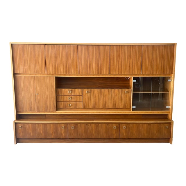 1970s West Germany MCM Mid Century Modern Wood Wall Unit Bar Cabinet For Sale