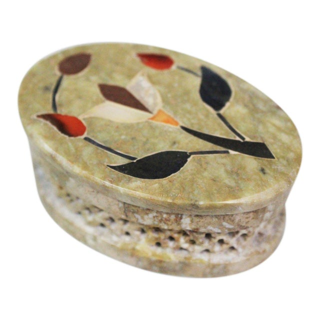 Green 1960s Vintage Soapstone Indian Box For Sale - Image 8 of 8