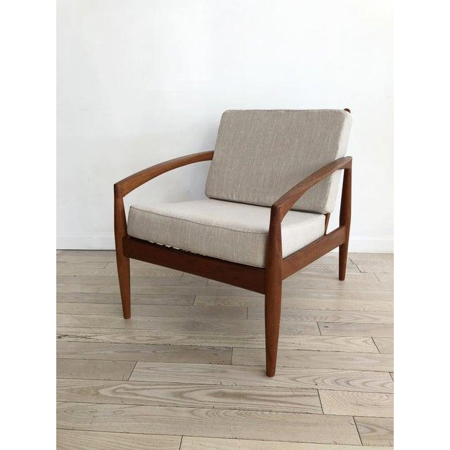 """1950's Kai Kristansen teak """"Paper Knife"""" easy chair for Magnus Olesen. Made in Denmark. New memory foam cushions and linen..."""