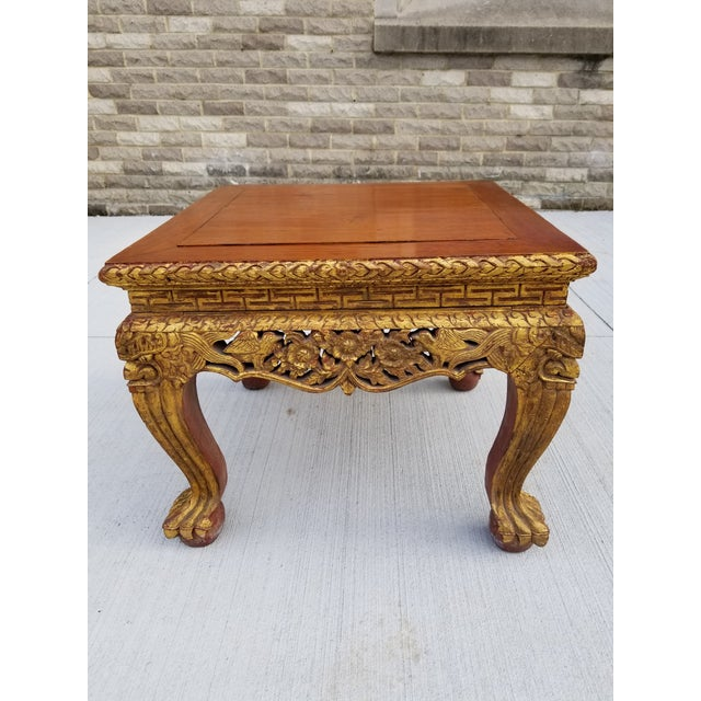 Asian Antique Chinese Gilt Carved Wood Kang Table For Sale - Image 3 of 13