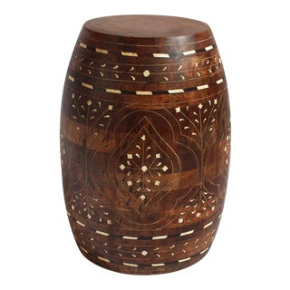 Inlay Barrel Wood Stool