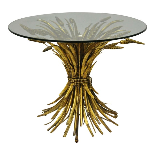 Vintage Italian Hollywood Regency Gold Gilt Iron Metal Wheat Sheaf Small Side Table For Sale