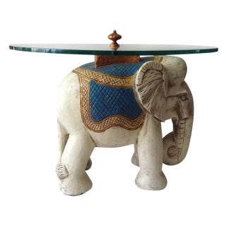 Hollywood Regency 1940s Elephant Glass Top Table