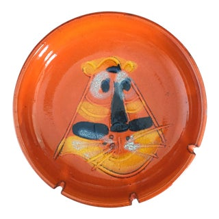 Mid Century Burnt Orange Tiger Face Ceramic Pottery Ashtray For Sale