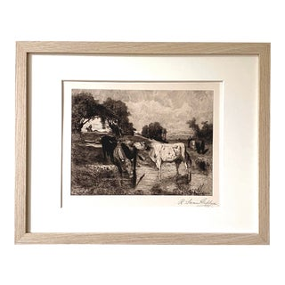 Normandy Cattle (After Auguste Bonheur) - Signed Etching (1889) For Sale