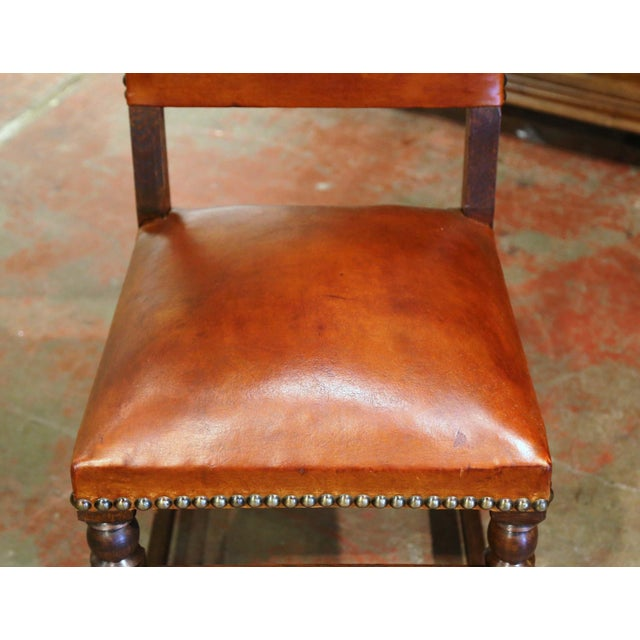 19th Century French Carved Oak and Tan Leather Dining Chairs - Set of Six For Sale In Dallas - Image 6 of 13