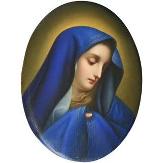 Antique German Kpm Hand Painted Porcelain Portrait Plaque of Mother Mary For Sale