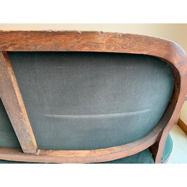 Green Antique French Green Velvet Love Seat For Sale - Image 8 of 9
