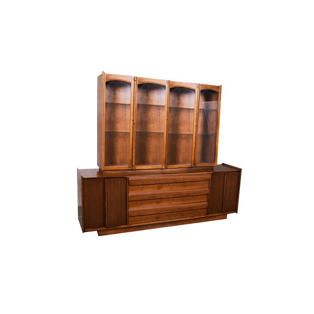 Mid Century Lane First Edition Walnut Buffet Credenza Hutch For Sale - Image 13 of 13
