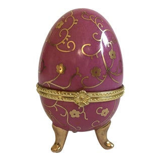 Pink & Gold Egg Trinket Box