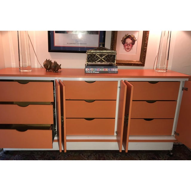 Chinoiserie Chic Orange Cabinet & Drawers Credenza Sideboard For Sale - Image 9 of 11