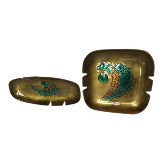 Mid Century Bovano Enamel Over Copper Ashtrays - a Pair For Sale